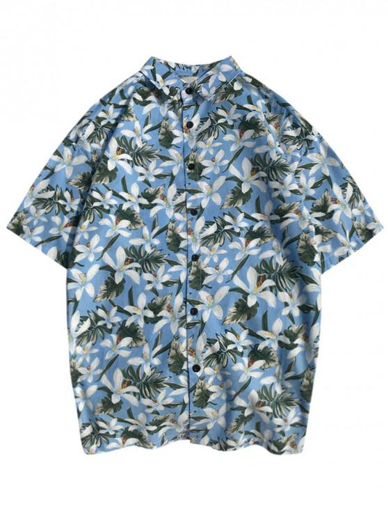 shops Hawaii Ditsy Plant Print Beach Shirt - SKY BLUE S