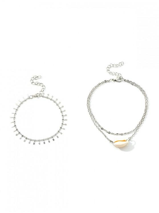 online 2Pcs Shell Layers Beach Anklet Set - SILVER