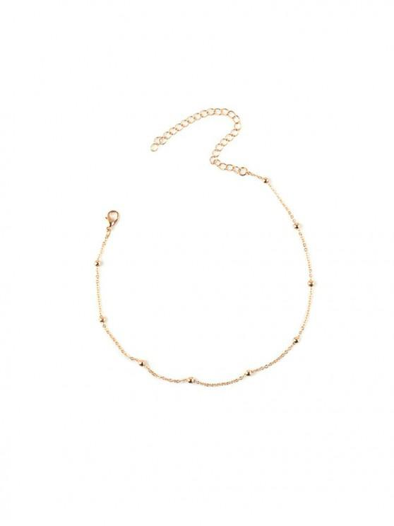 unique Simple Beads Chain Collarbone Necklace - GOLD