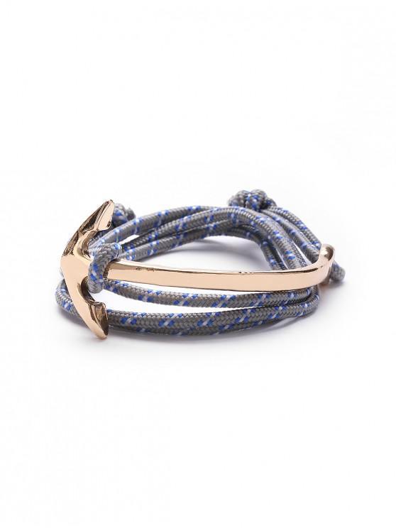 womens Curved Anchor Nylon Rope Bracelet - GRAY