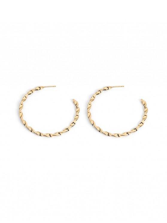 online Helix C Shape Circle Stud Earrings - GOLD 2PCS