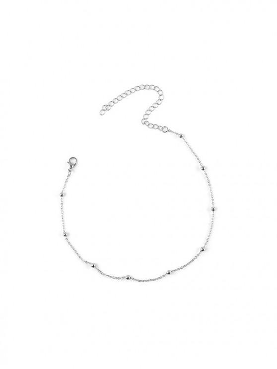 new Simple Beads Chain Collarbone Necklace - SILVER