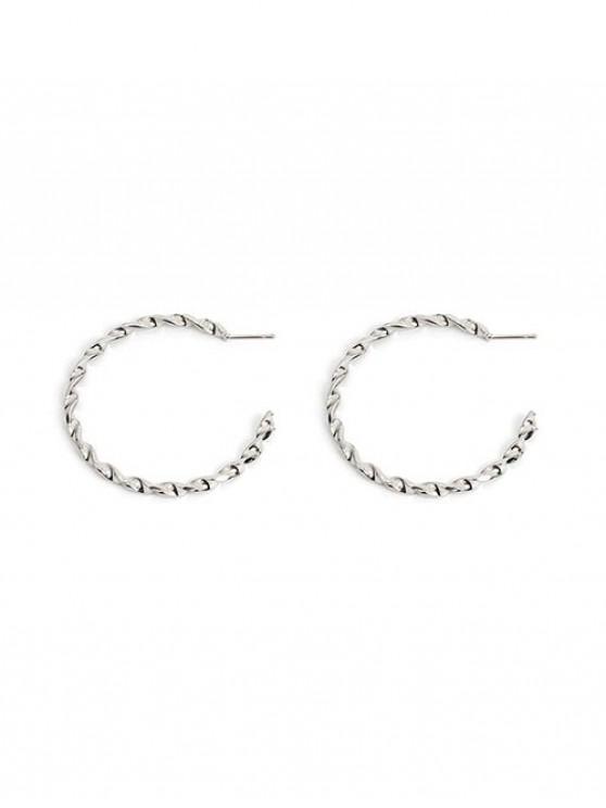 affordable Helix C Shape Circle Stud Earrings - SILVER 2PCS