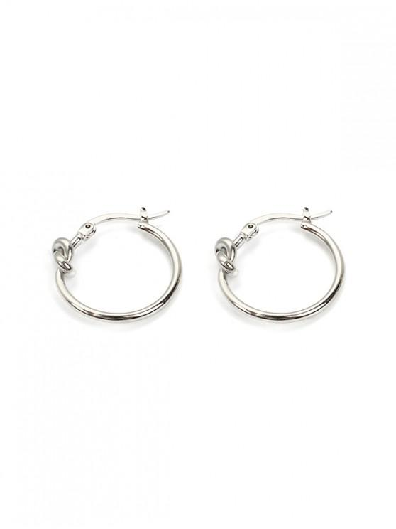 online Brief Knot Small Hoop Earrings - SILVER 2PCS