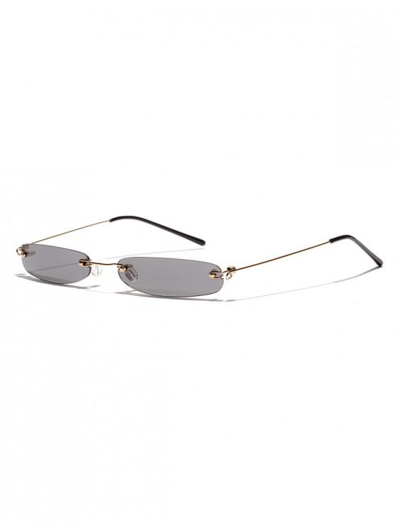 hot Narrow Lens Rectangle Rimless Sunglasses - GRAY