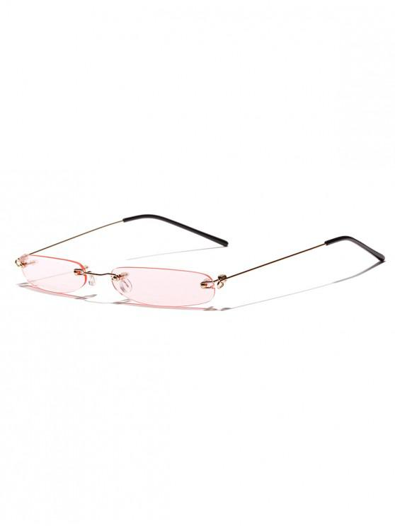 latest Narrow Lens Rectangle Rimless Sunglasses - PIG PINK