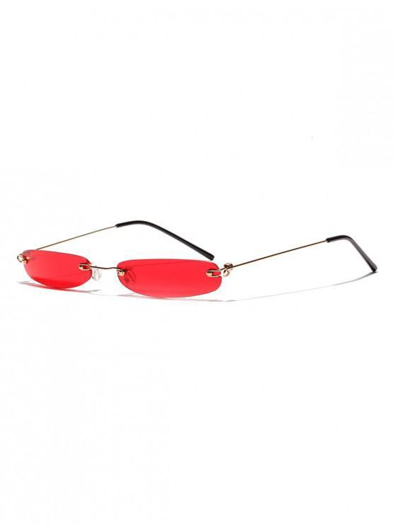 Gafas de sol sin montura con lentes estrechas y lentes estrechas - Rojo