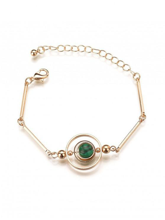 women Alloy Ethnic Style Circle Opal Chain Bracelet - BLUE HOSTA