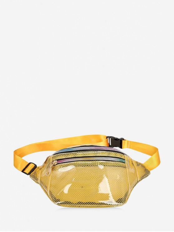 hot Transparent Mesh PVC Waist Bag - SUN YELLOW