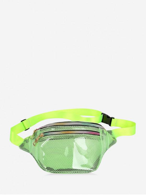 shop Transparent Mesh PVC Waist Bag - YELLOW GREEN