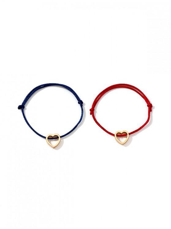 sale 2Pcs Love Heart Couple Bracelet Set - GOLD