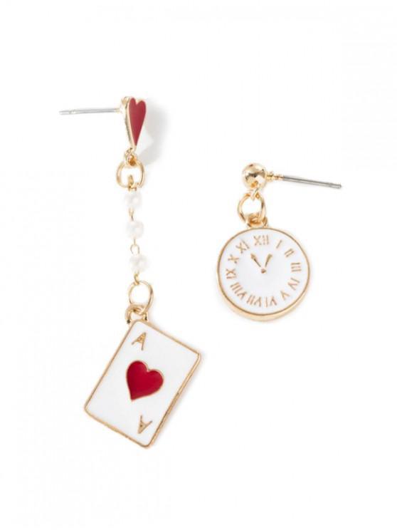 womens Heart Shape Asymmetric Stylish Earrings - MILK WHITE