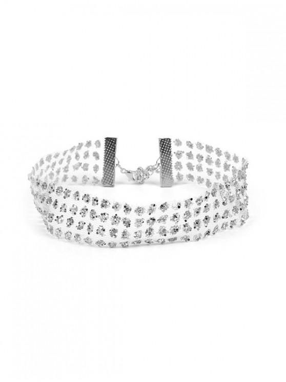 women Mesh Transparent Rhinestone Choker Necklace - SILVER 28+7