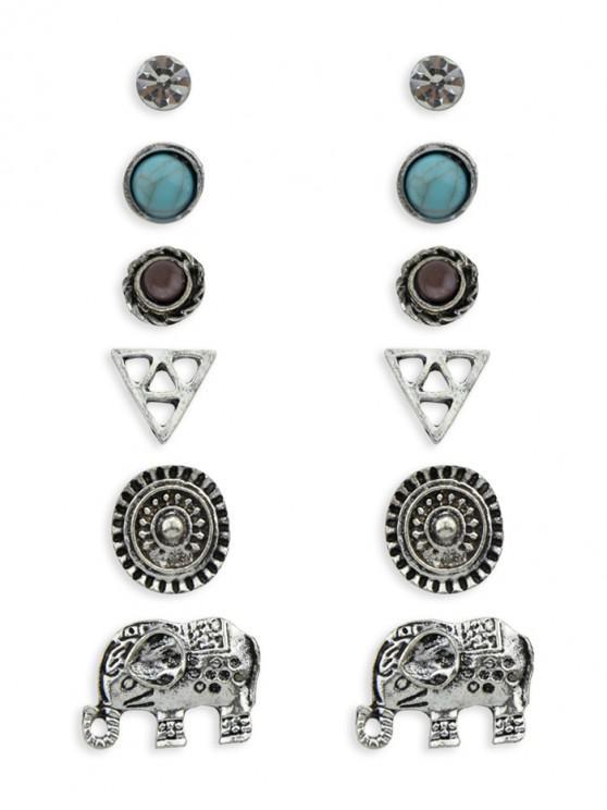 women's 6Pairs Retro Geometric Elephant Earrings Set - SILVER