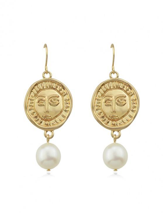 lady Round Face Faux Pearl Earrings - GOLD