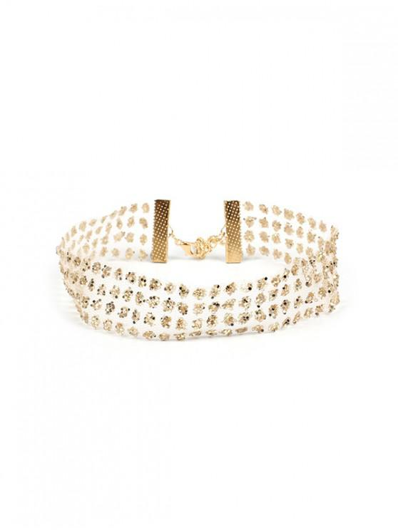 best Mesh Transparent Rhinestone Choker Necklace - GOLD 28+7