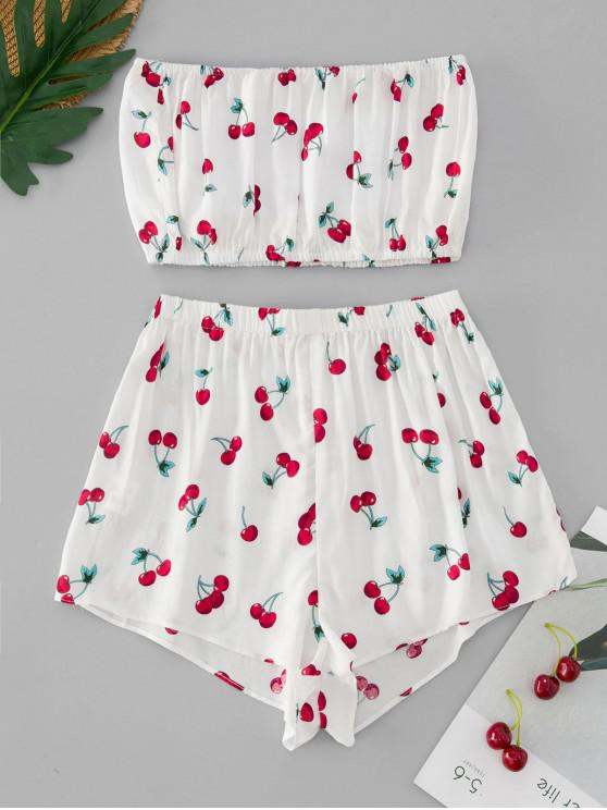 womens ZAFUL Cherry Print Bandeau Top And Shorts Set - WHITE S