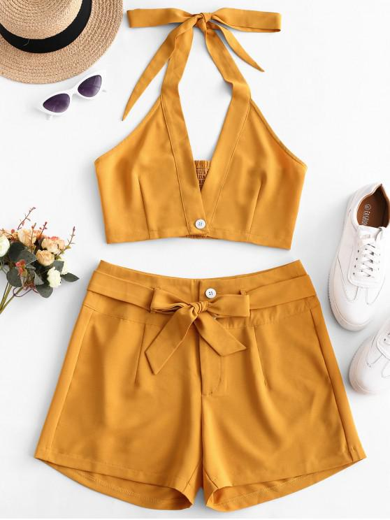 ladies ZAFUL Smocked Halter Crop Top and Belted Shorts Set - BEE YELLOW S