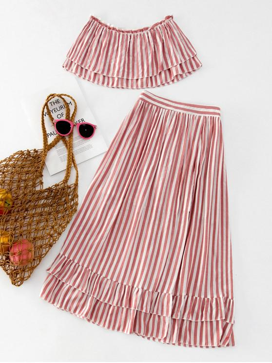 lady ZAFUL Layered Stripes Bandeau Top And Ruffles Skirt Set - KHAKI ROSE L