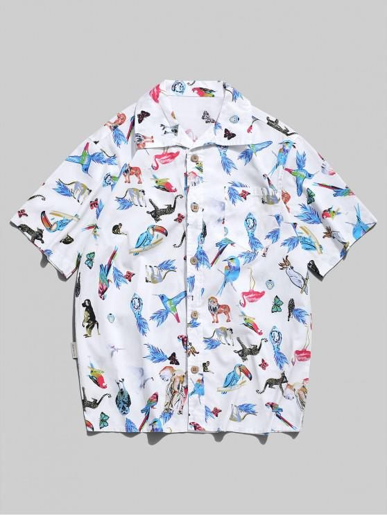 outfits Animal Allover  Graphic Print Beach Shirt - WHITE L