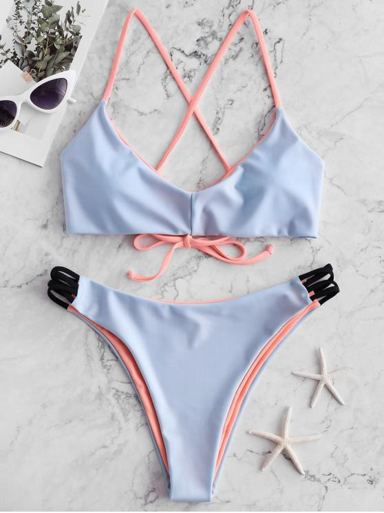 fancy ZAFUL Crisscross Reversible Bralette Bikini Swimsuit - SEA BLUE M