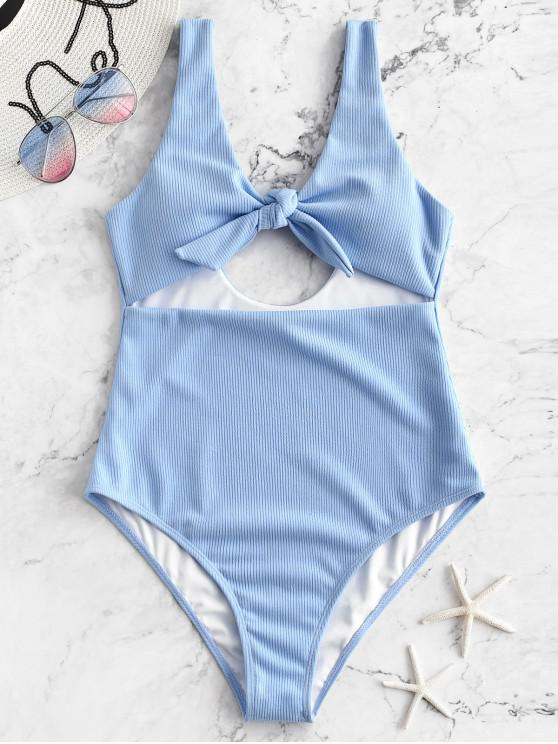chic ZAFUL Ribbed Cut Out Tied One-piece Swimsuit - DAY SKY BLUE XL