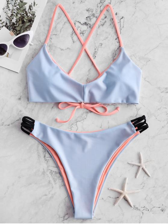 ZAFUL Maillot de Bain Bikini Réversible Croisé - Bleu de Mer S