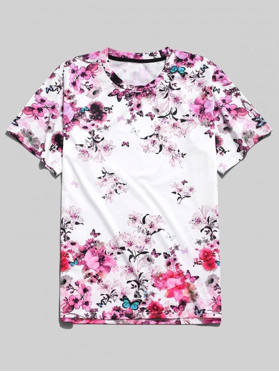trendy Short Sleeves Floral Paradise Butterfly Print T-shirt - WHITE L
