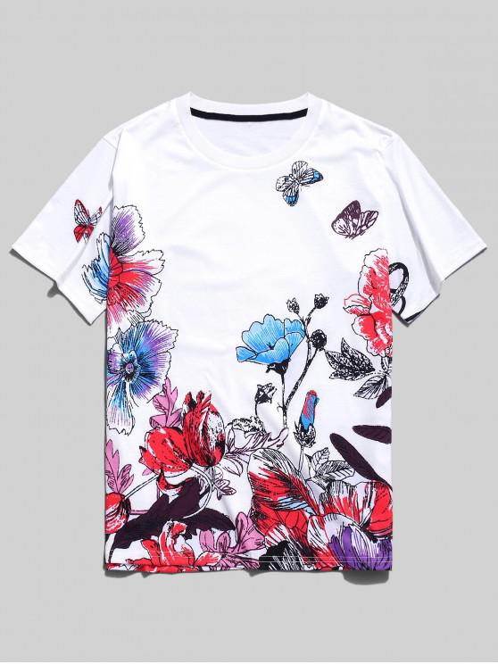 sale Flower Butterfly Painting Print T-shirt - WHITE XS