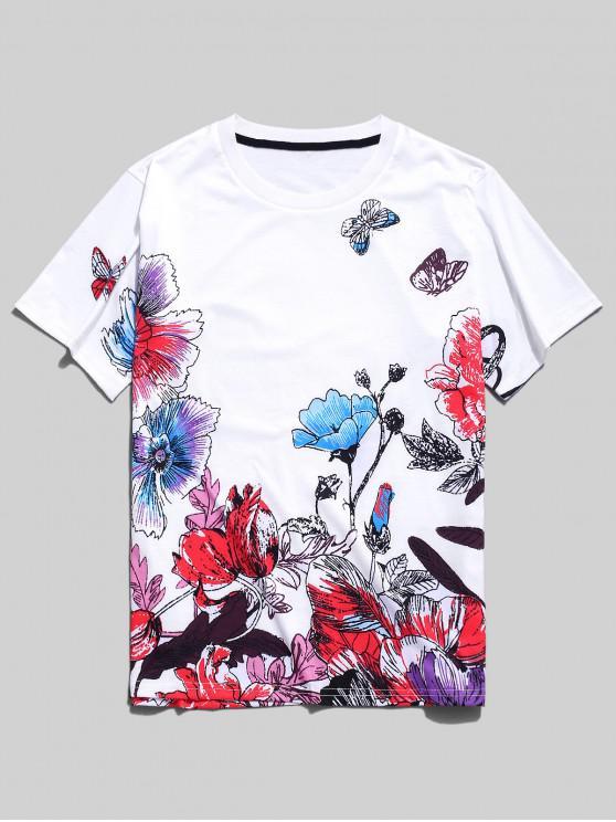 Impresión de la pintura de la mariposa de la flor t-shirt - Blanco L