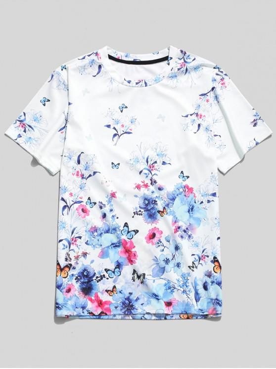 ladies Butterfly Flower Paradise Print T-shirt - WHITE M