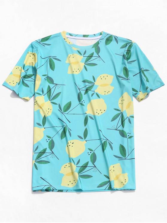 fashion Fruit Plant Print Beach T-shirt - BLUE IVY XL