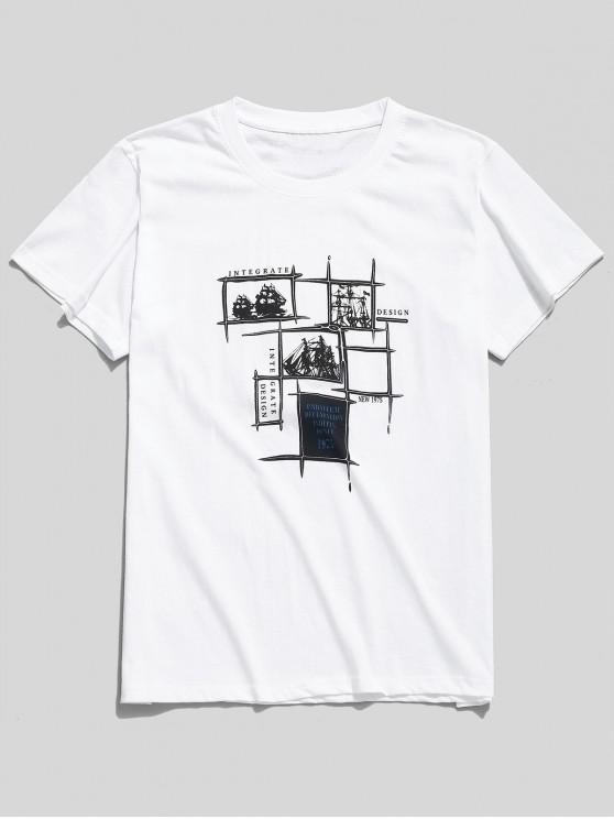 T-shirt à motif de lettres et d'art graphique - Blanc L