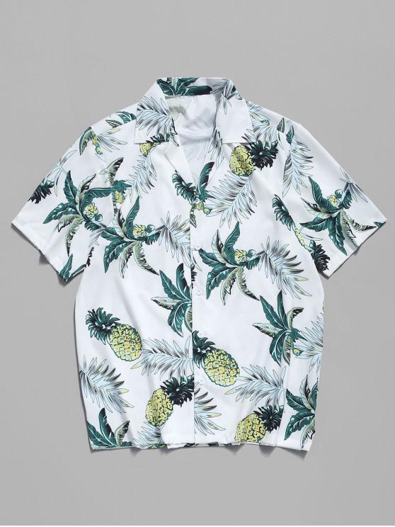 الاستوائية ورقة الأناناس طباعة قميص شاطئ هاواي - أبيض S