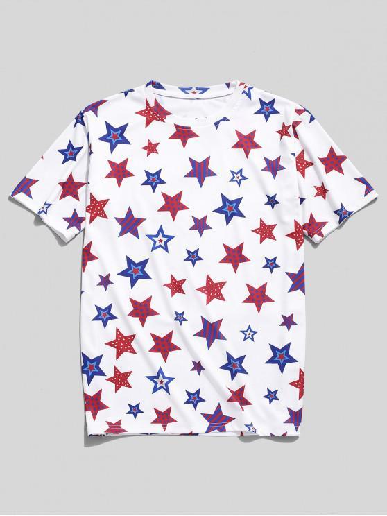 T-shirt Etoile Imprimée à Manches Courtes - Blanc 2XL