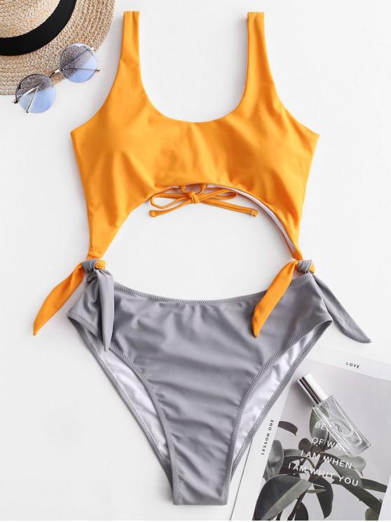 hot ZAFUL Tie Two Tone Cutout One-piece Swimsuit - SAFFRON L