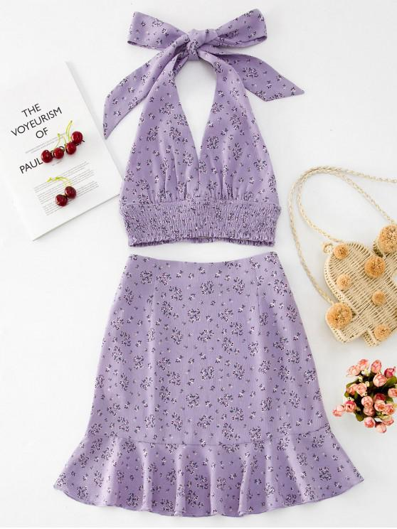 women ZAFUL Halter Floral Knotted Top and Flounce Skirt Set - LAVENDER BLUE S