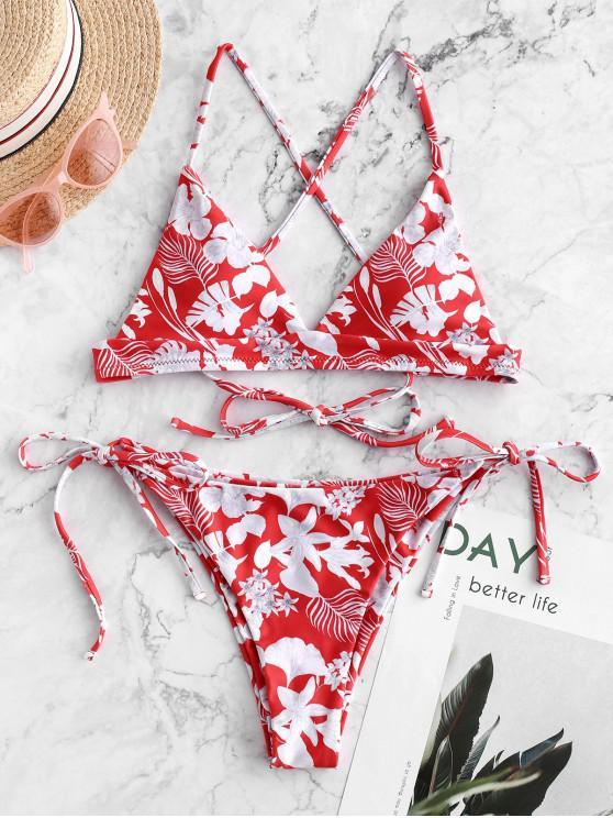 new ZAFUL Flower Criss Cross String Bikini Swimsuit - MULTI-A S