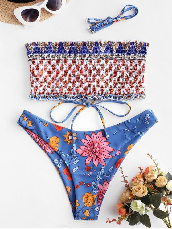 lady ZAFUL Floral Lace-up Smocked Bandeau Bikini Swimsuit - MULTI-A M