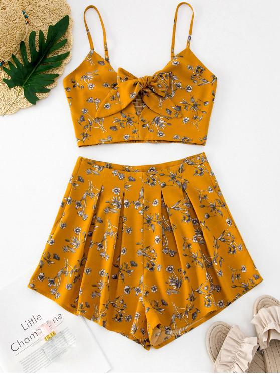 Conjunto de pantalones cortos de dos piezas plisados con nudo floral estampado de ZAFUL - Amarilla de Abeja  S