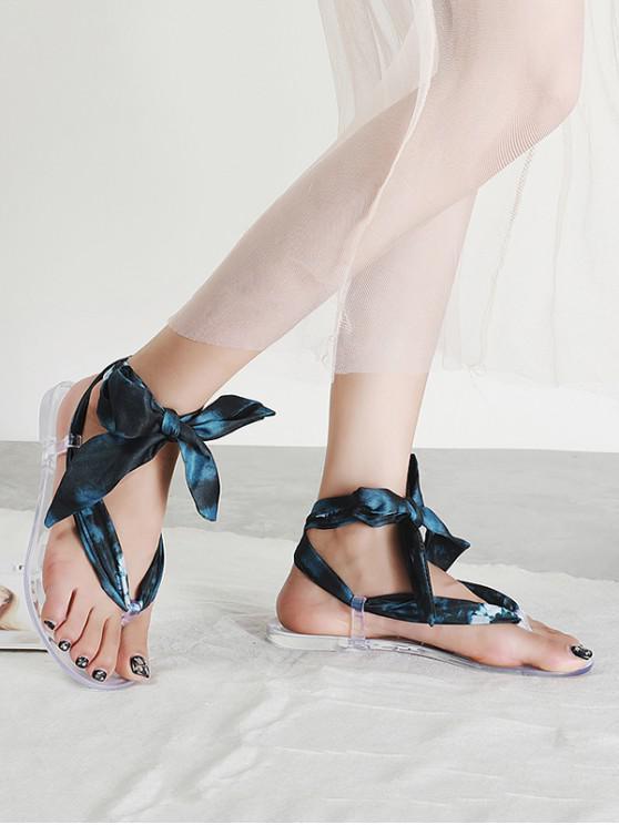 Sandalias planas transparentes con suela de punta - Negro EU 36