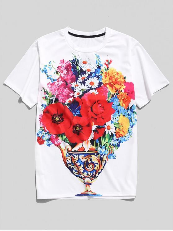 unique Floral Print Short Sleeves T-shirt - WHITE XS