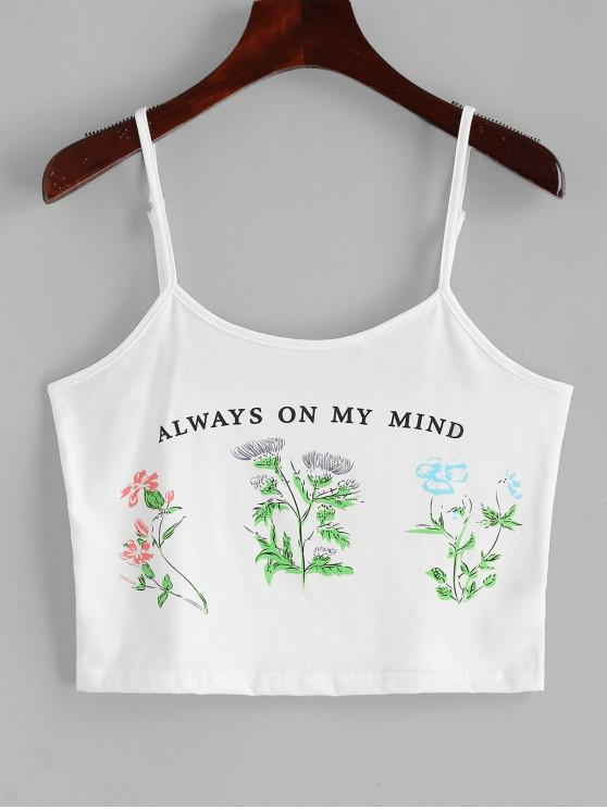 buy Letter Floral Print Crop Cami Top - WHITE M