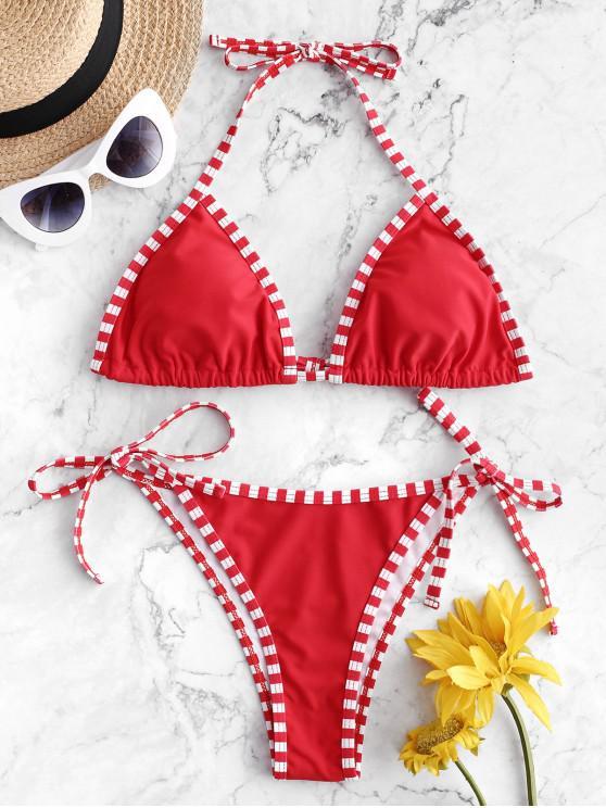 latest ZAFUL Striped Piping Tie String Bikini Swimsuit - RED L