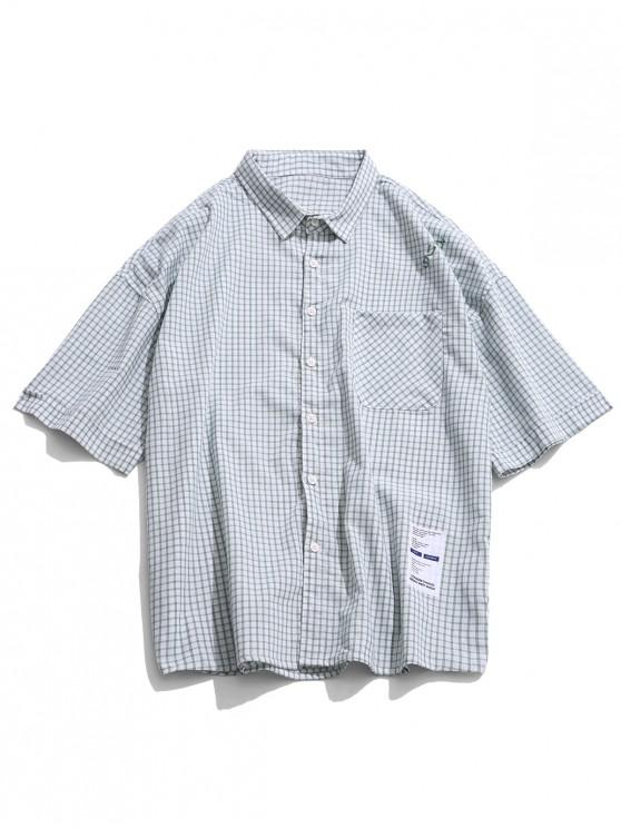 sale Drop Shoulder Plaid Print Button Shirt - DARK SEA GREEN L