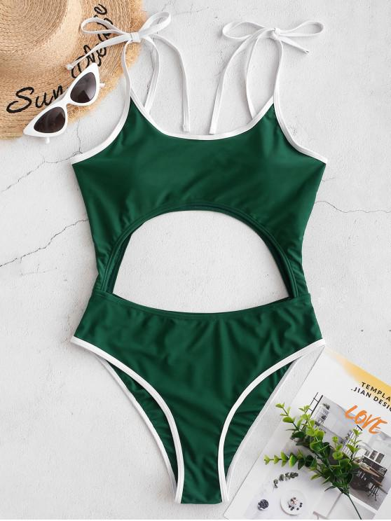 women ZAFUL Contrast Piping Tie Cutout One-piece Swimsuit - MEDIUM SEA GREEN XL