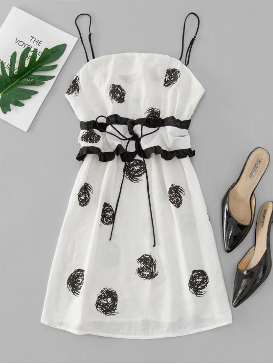 lady Belted Printed Cami Mini Dress - WHITE M