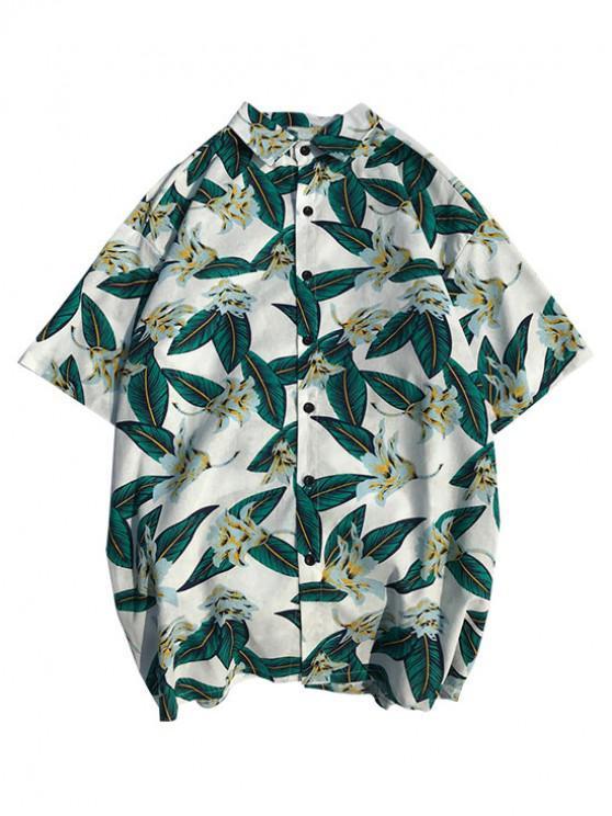 Camisa playera de playa con estampado de plantas tropicales de Hawaii - Blanco M