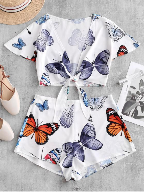 chic Butterfly Print Knotted Crop Top and Shorts Set - WHITE L