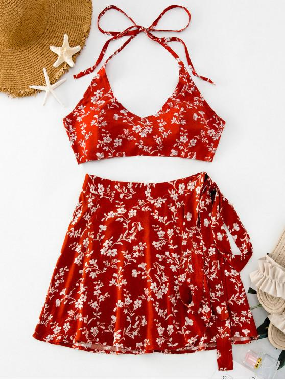 new Floral Print Halter Top and Wrap Skirt Set - CHESTNUT RED S